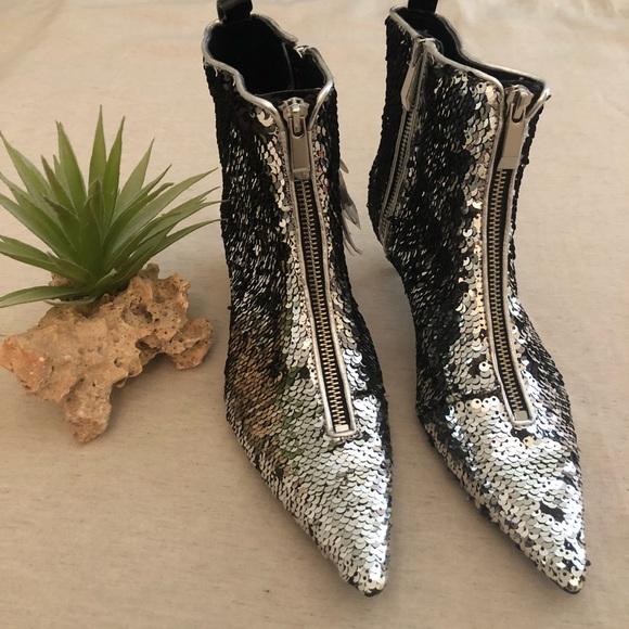 7770b363206 NWT Zara Sequined Kitten Heel Zip Sock Boots sz 6